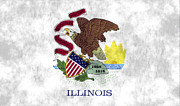 U S Flag Digital Art Posters - Illinois Flag Poster by World Art Prints And Designs