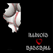 Abstract Map Posters - Illinois Loves Baseball Poster by Andee Photography