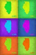 Illinois Digital Art Framed Prints - Illinois Pop Art Map 1 Framed Print by Irina  March