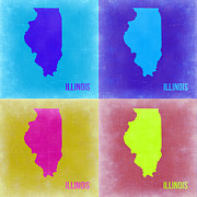 Illinois Digital Art Framed Prints - Illinois Pop Art Map 2 Framed Print by Irina  March