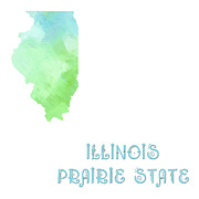 Prairie Mixed Media Posters - Illinois - Prairie State - Map - State Phrase - Geology Poster by Andee Photography