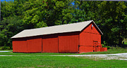 Illinois Barns Prints - Illinois Red Barn Print by Pamela Briggs-Luther