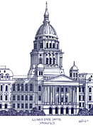 Pen And Ink Drawing Mixed Media Posters - Illinois State Capitol Poster by Frederic Kohli