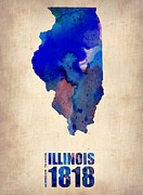Modern Poster Framed Prints - Illinois Watercolor Map Framed Print by Irina  March