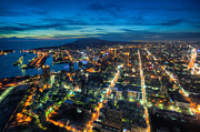 Fototrav Print Prints - Illuminated Kaohsiung city at night skyline Taiwan cityscape Print by Fototrav Print