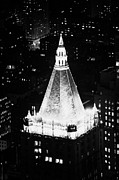 Manhaten Prints - Illuminated Night View Of New York Life Insurance Co Building Roof New York City Print by Joe Fox