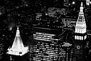 Manhaten Prints - Illuminated Night View Of Roof Of New York Life Insurance Co Building And Metropolitan Life Insuranc Print by Joe Fox