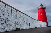 Searchlight Posters - Illuminated Red Lighthouse Poster by Semmick Photo