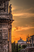 Italian Sunset Framed Prints - Illuminati Rome Framed Print by Erik Brede