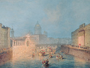 Lit Paintings - Illumination at the Moyka in St. Petersburg by Vasili Semenovich Sadovnikov