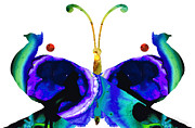 Peacocks Prints - Illusion - Peacock Butterfly Art Painting Print by Sharon Cummings