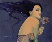 Blue Purple Paintings - Illusory by Dorina  Costras