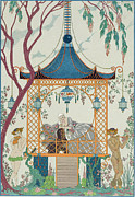Gazebo Painting Framed Prints - Illustration for Fetes Galantes Framed Print by Georges Barbier