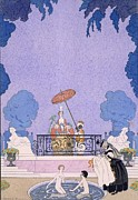 Showering Prints - Illustration from a book of fairy tales Print by Georges Barbier