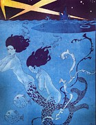 Mermaids Paintings - Illustration from La Baionnette by Georges Barbier