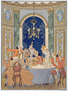 Banquet Paintings - Illustration from Les Liaisons Dangereuses  by Georges Barbier