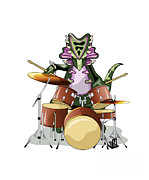 Drum Kit Prints - Illustration Of A Chasmosaurus Playing Print by Stocktrek Images
