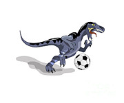 Dinosaur Soccer Prints - Illustration Of A Raptor Dinosaur Print by Stocktrek Images