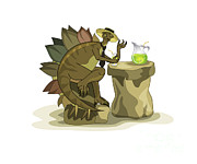 Stegosaurus Prints - Illustration Of A Stegosaurus Drinking Print by Stocktrek Images