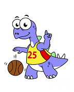 Basketball Sports Prints - Illustration Of A Stegosaurus Playing Print by Stocktrek Images