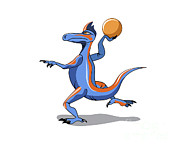 Basketball Digital Art - Illustration Of An Iguanodon Playing by Stocktrek Images