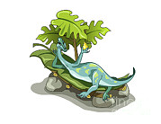 Illustration Of An Iguanodon Sunbathing Print by Stocktrek Images