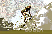 Vintage Map Digital Art - Illustration print Giro de Italia Coppi vintage map cycling by Sassan Filsoof