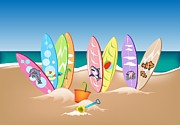 Locations Painting Prints - Illustration Set of Surfboards on A Beach Print by Iam Nee