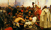 Delacroix Prints - Ilya Repin 3 Reply Of The Zaporozhian Cossacks To Sultan Mehmed Iv Of Ottoman Empire1 Print by MotionAge Art and Design - Ahmet Asar
