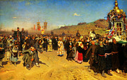 High Society Posters - Ilya Repin Religious Procession In Kursk Province Poster by MotionAge Art and Design - Ahmet Asar