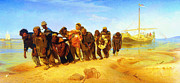 Caravaggio Paintings - Ilya Repin Volga Barge Haulers 1873 by MotionAge Art and Design - Ahmet Asar