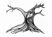 Tree Lines Drawings Prints - Im Melting Print by Minnie Lippiatt