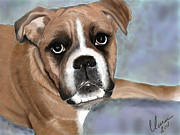 Boxer Digital Art Prints - Im so cute Print by Clara Christensen