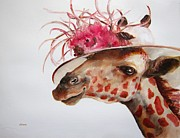 Giraffes Paintings - Im So Pretty by Diane Kraudelt