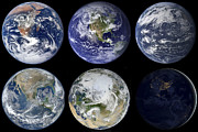 Terrestrial Sphere Posters - Image Comparison Of Iconic Views Poster by Stocktrek Images