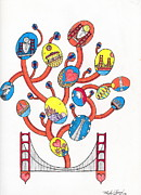 San Francisco Drawings Posters - Image Vine of Bridge and S.F. Poster by Michael Friend