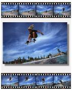 Composite Photographs Framed Prints - Images Of Skateboarder Getting Big Air Framed Print by Corey Hochachka