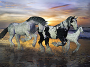 Equine Mixed Media Prints - Imagination on the Run Print by Betsy A Cutler East Coast Barrier Islands