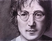 John Lennon  Drawings Posters - Imagine Poster by Beth Beam