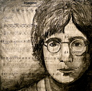 John Lennon  Mixed Media - Imagine by Debi Pople
