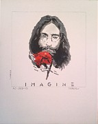 John Lennon Painting Originals - IMAGINE - John Lennon 1973 by Richard John Holden