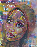 Art Of Soul Singer Posters - Imany Nadia Mladjao Windows of the Soul  Poster by Anna Ruzsan