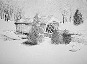 Covered Bridge Drawings Metal Prints - Imes Snow Bridge Metal Print by Tammie Temple