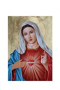 Virgin Mary Framed Prints - Immaculate Heart of Mary Framed Print by Janeta Todorova