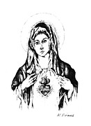 Bible Drawings - Immaculate Heart Of Mary by Karen Sirard