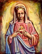 Religious Art Paintings - Immaculate Heart by Sheila Diemert