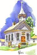 Historic Home Painting Prints - Immanuel Evangelical Lutheran Church Pilot Knob Missouri Print by Kip DeVore