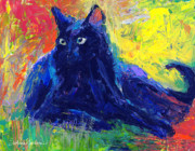 Vibrant Drawings Framed Prints - Impasto Black Cat painting Framed Print by Svetlana Novikova