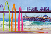 Surfboards Posters - Imperial Beach Pier California Poster by Mary Helmreich