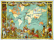Cartography Paintings - Imperial Federation Map of the World Showing the Extent of the British Empire in 1886 levelled by MotionAge Art and Design - Ahmet Asar
